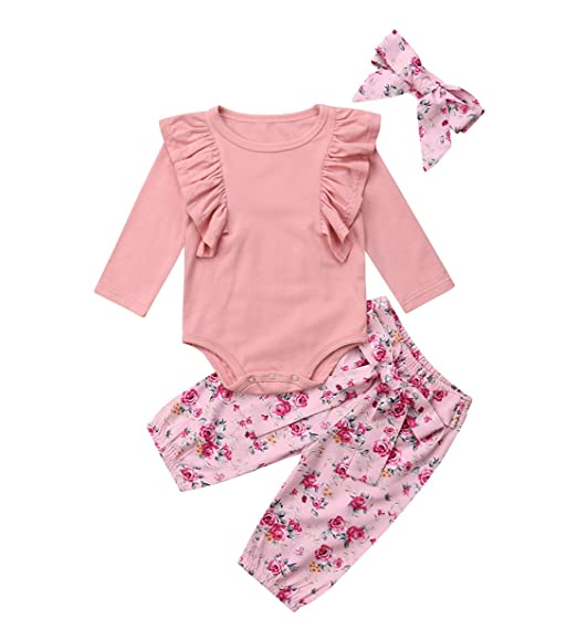 829358399 Baby Girl 3 PCS Clothes Sets Solid Pink Ruffles Long Sleeve Romper+Flower  Print Belted