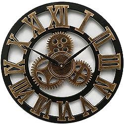 SparrK Retro Gear Clock Living Room Wall Clock Custom Creative Clock Wooden 3D Wall Clock (Gold, 18 inch)