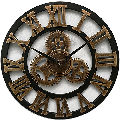 SparrK Retro Gear Clock Living Room Wall Clock Custom Creative Clock Wooden 3D Wall Clock (Gold, 18 inch)