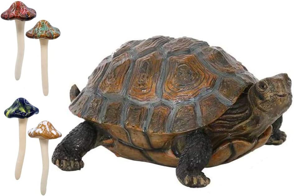 """Danmu Ceramic Mushroom 4.52"""" H and Polyresin Tortoise 12 9/10"""" x 9 2/5"""" x 5 1/2"""" Outdoor Statue, Garden Ornaments, Yard Statue for Home and Fairy Garden Decor"""