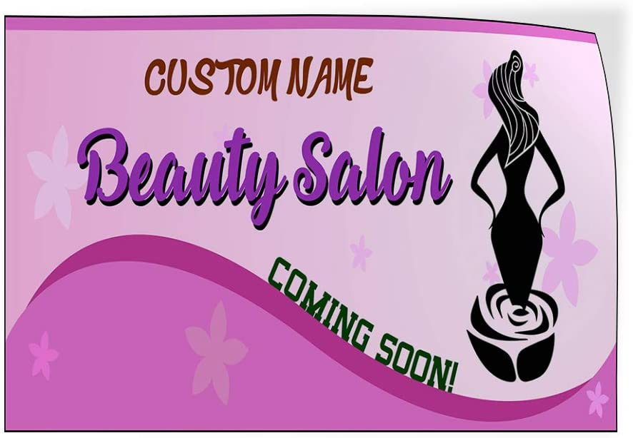Custom Door Decals Vinyl Stickers Multiple Sizes Coming Soon Name Beauty Salon Silhouette Business Coming Soon Outdoor Luggage /& Bumper Stickers for Cars Purple 60X40Inches Set of 2