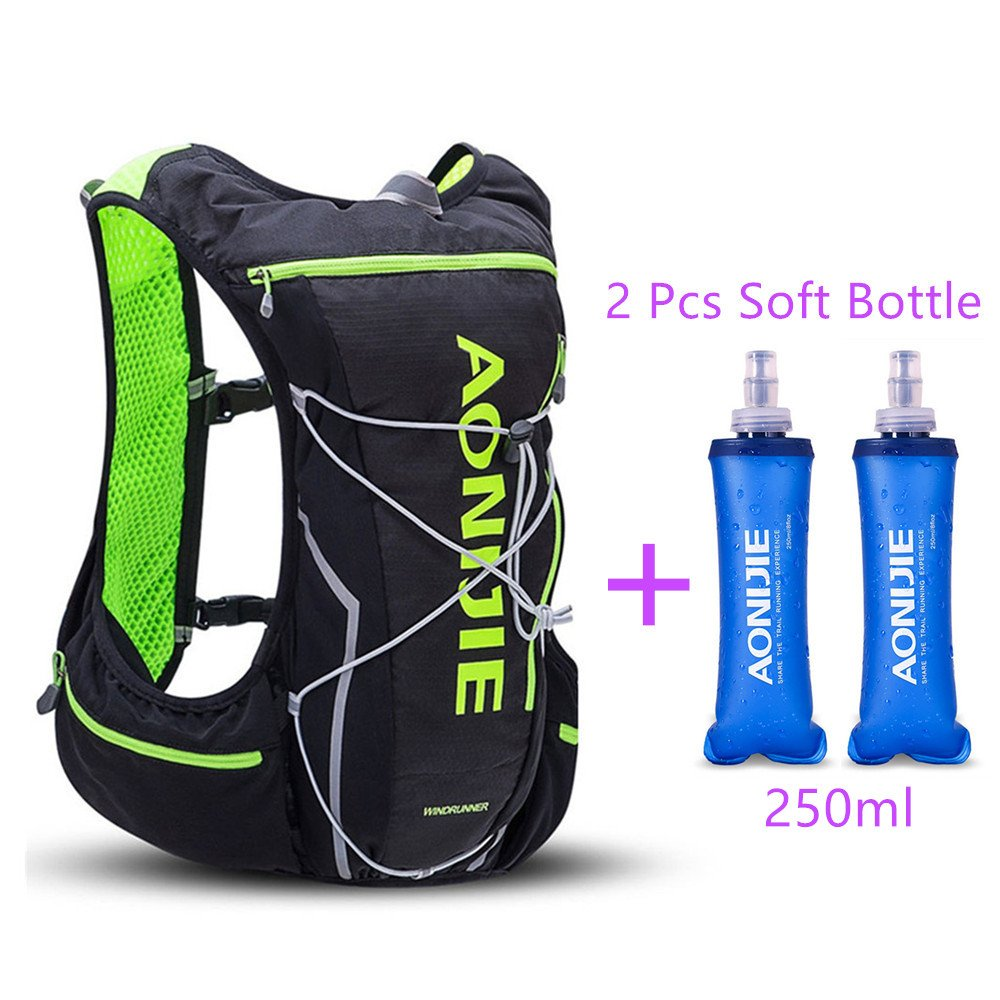 AONIJIE Trail Marathon Running Vest Pack 10L Sport Bag Hiking Camping Hydration Backpack Water Bottle Holder+Water Bottle(Optional),M/L,Black with 2 Soft Water Bottles