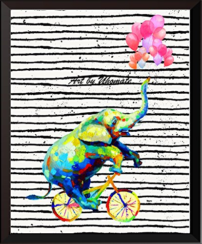 - Uhomate Watercolor Elephant with Ballon Print Original Elephant Painting Cute Animal Canvas Wall Art Print Poster Baby Gift Nursery Decor Living Room Wall Decor A138 (13X19)