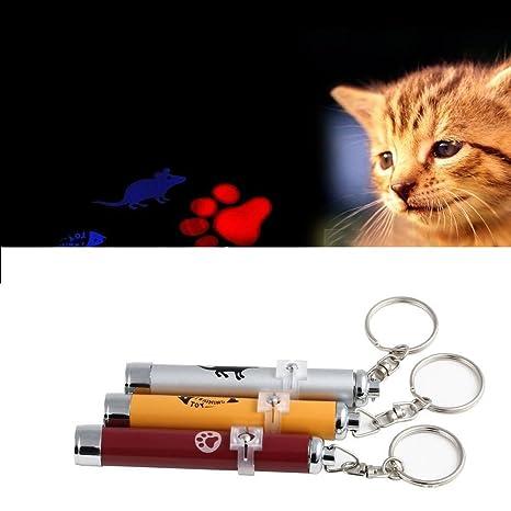 Juguete para gato o perro, puntero LED rojo. Motivo de pata de gatito