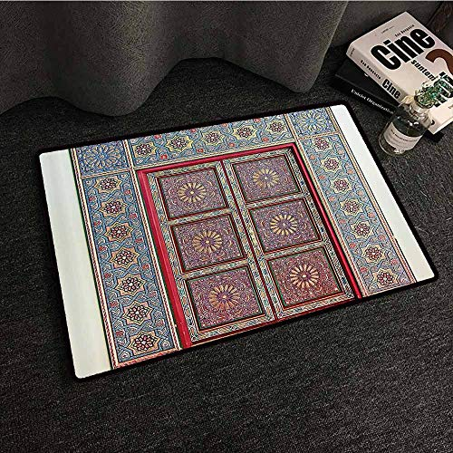 Moroccan Decor Collection Modern Door mat A Magnificent Moroccan Traditional Ancient Door Gate Brass Historic Handicraft Image Non-Slip Backing W24 xL35 Blue Coral