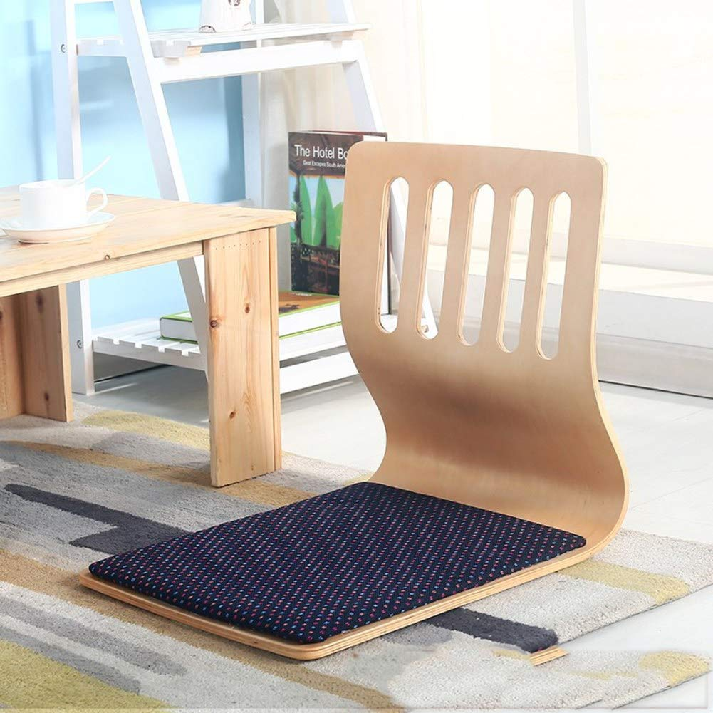 Y&S Japanese Tatami Padded Floor Chair, Semi-Foldable Gaming Chair Video-Gaming Adults Meditation Chair -Wood Color