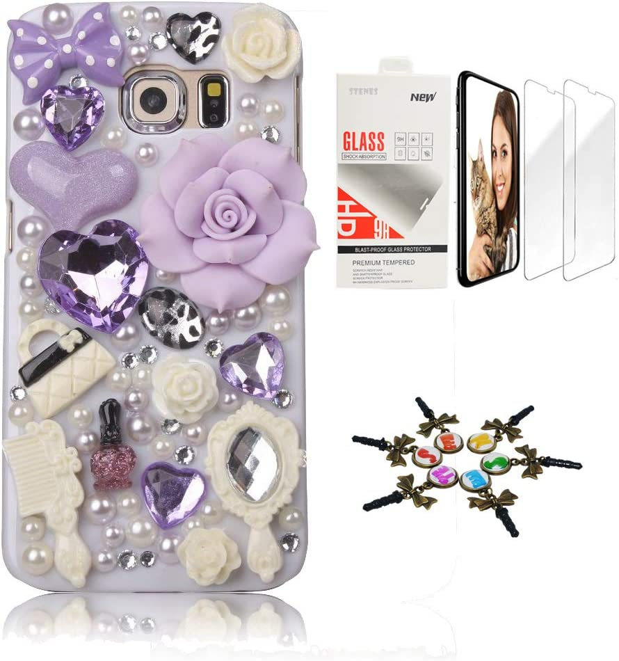 STENES Sparkle Case Compatible with Samsung Galaxy S20 FE 5G Case - Stylish - 3D Handmade Girls Cosmetic Big Rose Flowers Cover Case with Screen Protector [2 Pack] - Purple