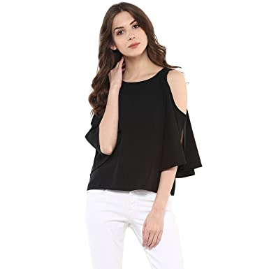 d079af9ff36 Harpa Women's Polyester Cold Shoulder Top: Amazon.in: Clothing ...