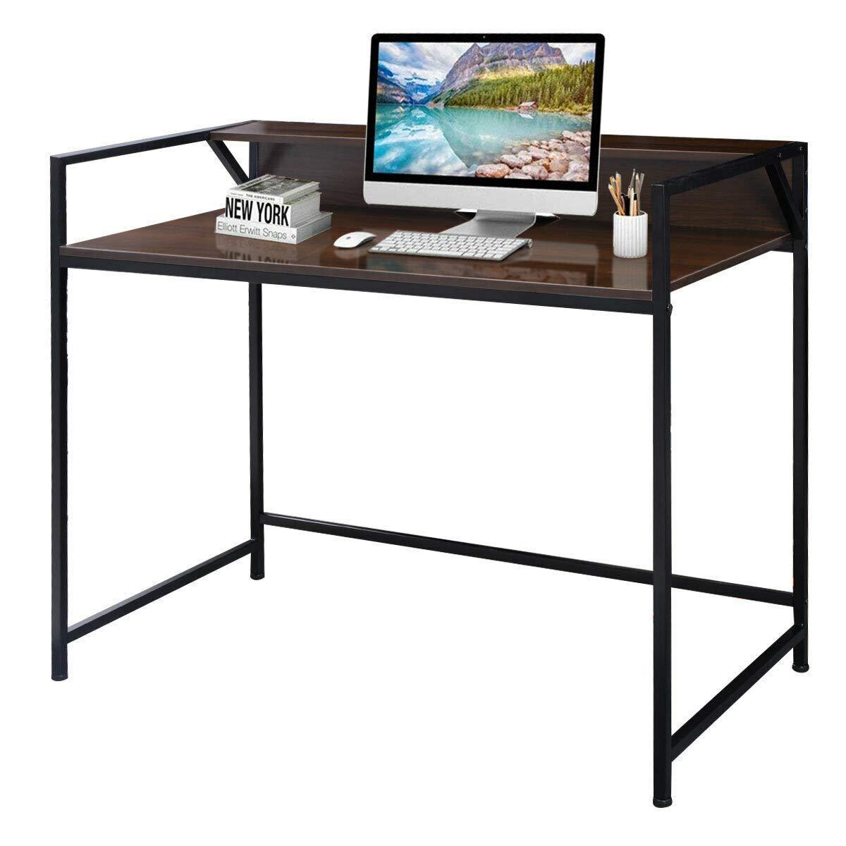 TANGKULA Computer Desk Laptop Writing Desk Student Study Desk Modern Simple Style Home Office Desk Large Size PC Laptop Study Table Workstation Writing Desk for Home and Office (Brown and Black)