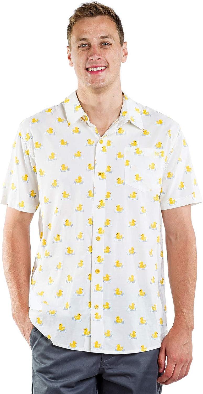 Men's White Dapper Ducky Hawaiian Shirt - Rubber Duck Button Down Aloha Shirt