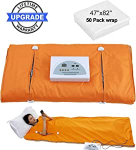 CroSight Far-Infrared (FIR) Sauna Blanket Waterproof Heat Sauna Blanket for Weight Loss with Remote Control Body Shaper Professional Detox Therapy Beauty Machine Slimming Fitness Anti Ageing (Orange)