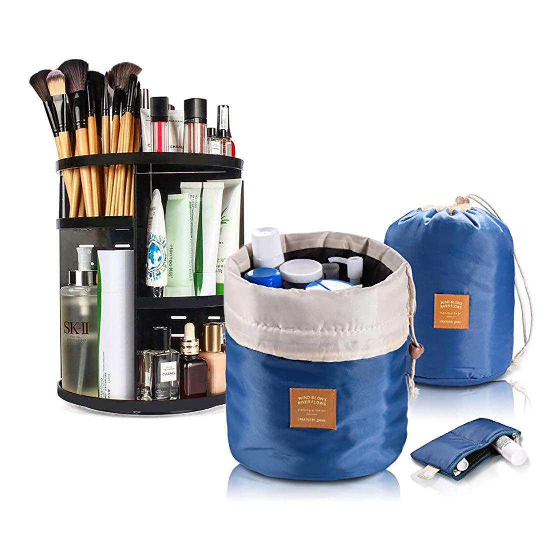Ahavas Rotating Makeup Organizer, Travel Bag, and Cosmetics Pouch (3 Pc. Set) Large Capacity Storage Rack w/Adjustable Shelves | Classic Bathroom Counter Organization