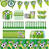 Cieovo 2018 Soccer Party Supplies Sports Themed Pack, Comes with Disposable Tableware and Birthday Party Decoration Set, All-In-One Value Kit, Perfect for Kids. Includes 10 Varieties 106 Pieces