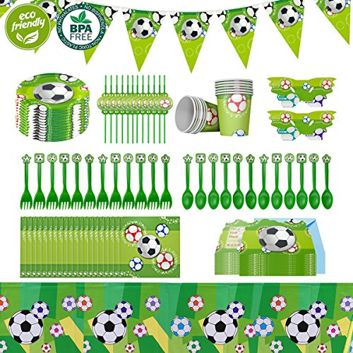 Cieovo 2019 Soccer Party Supplies Sports Themed Pack, Comes with Disposable Tableware and Birthday Party Decoration Set, All-In-One Value Kit, Perfect for Kids. Includes 10 Varieties 106 Pieces ()