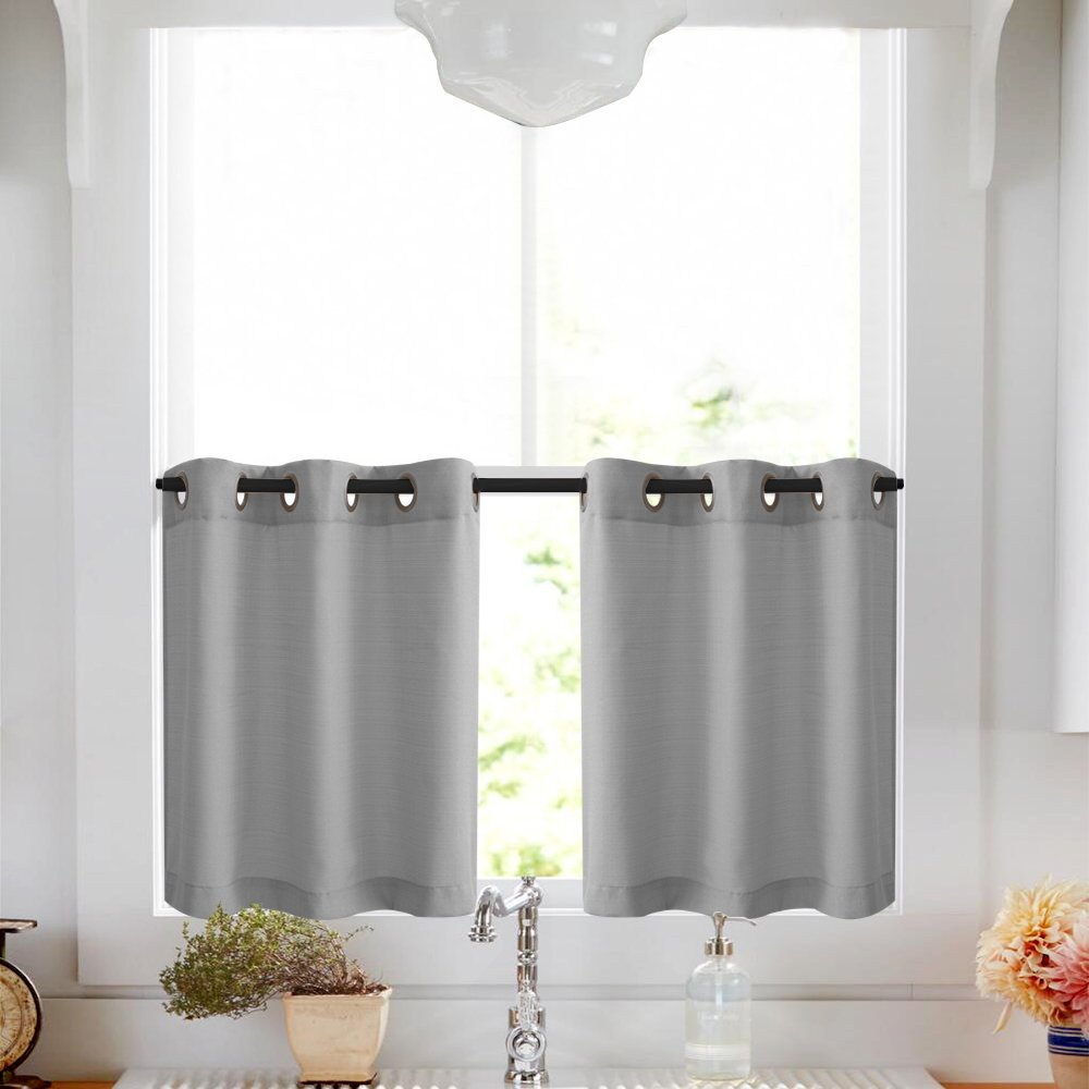 Lazzzy Tier Curtains 36 inch Grey Kitchen Curtain Set Grommet Top Casual Weave Fabric Drapes 2 Panels