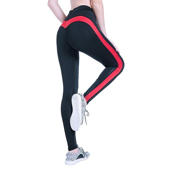 Amazon.com: vicver corazón Yoga Leggings mujeres rojo ...