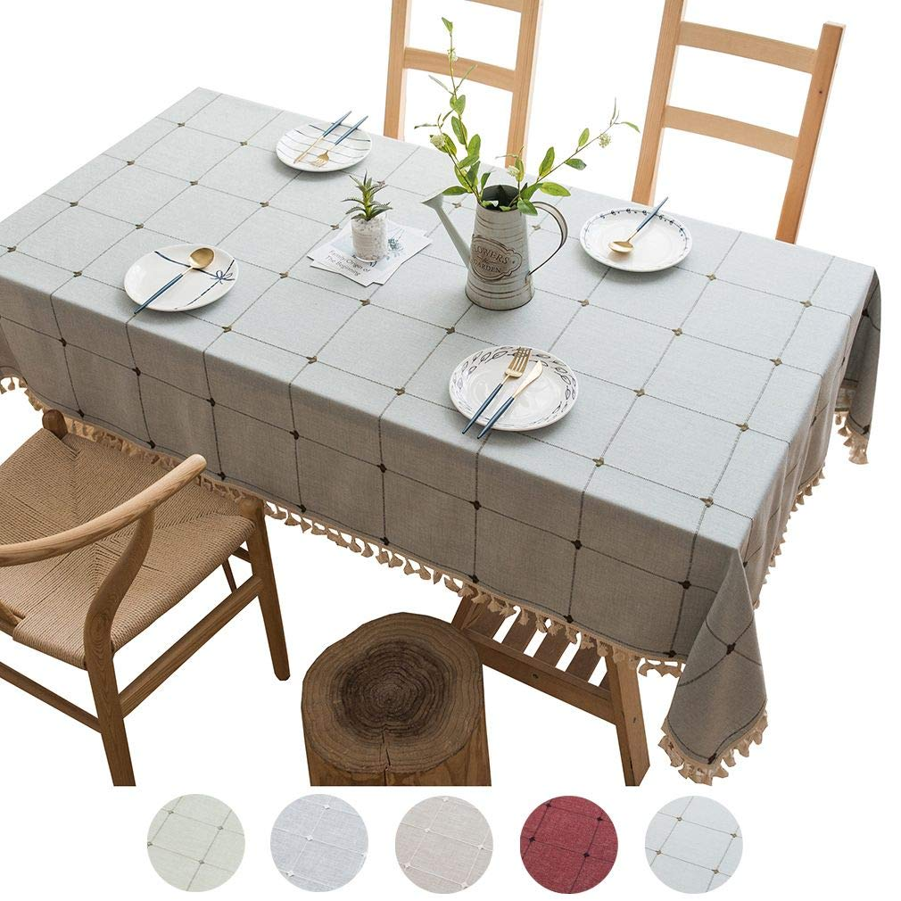 Xiang Ru Simple Elegant Tassel Tablecloth Cotton Linen Square Grid Table Mate Dust-Proof Table Cover Greyblue 140 x300CM (55.12 x118.11 Inch) by Xiang Ru