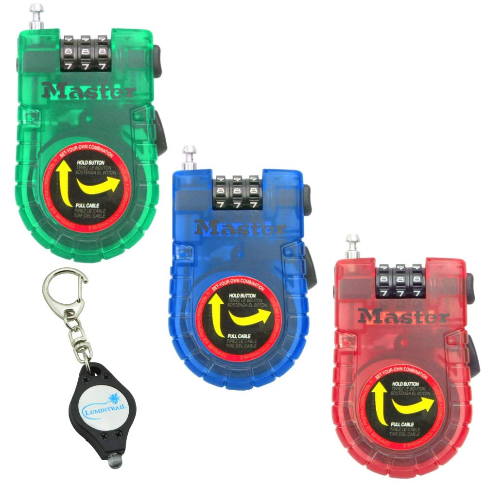 Master Lock Retractable 3 ft. Braided Steel Cable Lock, Set Your On Combination - Assorted Colors (4 Pack) Bundle with a Lumintrail Keychain Light