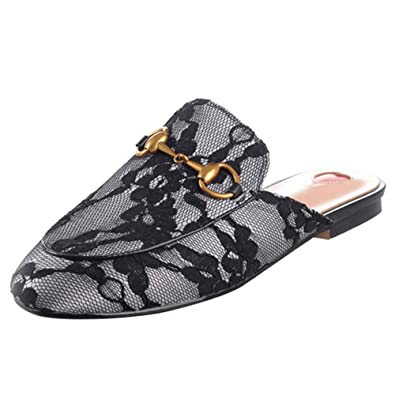 39b306069 KIKIVA Women Flat Leather Mules Slingback Slippers Outdoor Loafers Slip on  Shoes,4 M US