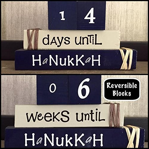 HANUKKAH COUNTDOWN! Reversible and interactive stacking wood block set for seasonal and home -