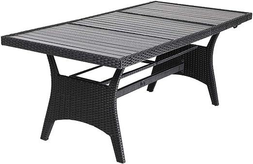 Casaria Mesa de jardín para 8 personas con tablero de madera compuesta 190x90x75cm para exterior interior jardín terraza: Amazon.es: Jardín