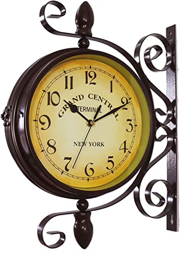 KiaoTime Vintage Double Sided Wall Clock Iron Metal Silent Quiet Grand Central Station Wall Clock Art Clock Decorative Double Faced Wall Clock 360 Degree Rotate Antique Wall Clock Dark Brown Color