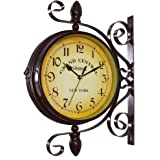KiaoTime Vintage Double Sided Wall Clock Iron Metal Silent Quiet Station Wall Clock Art Clock Decorative Double Faced Wall Clock 360 Degree Rotate Antique Wall Clock (Dark Brown Color)