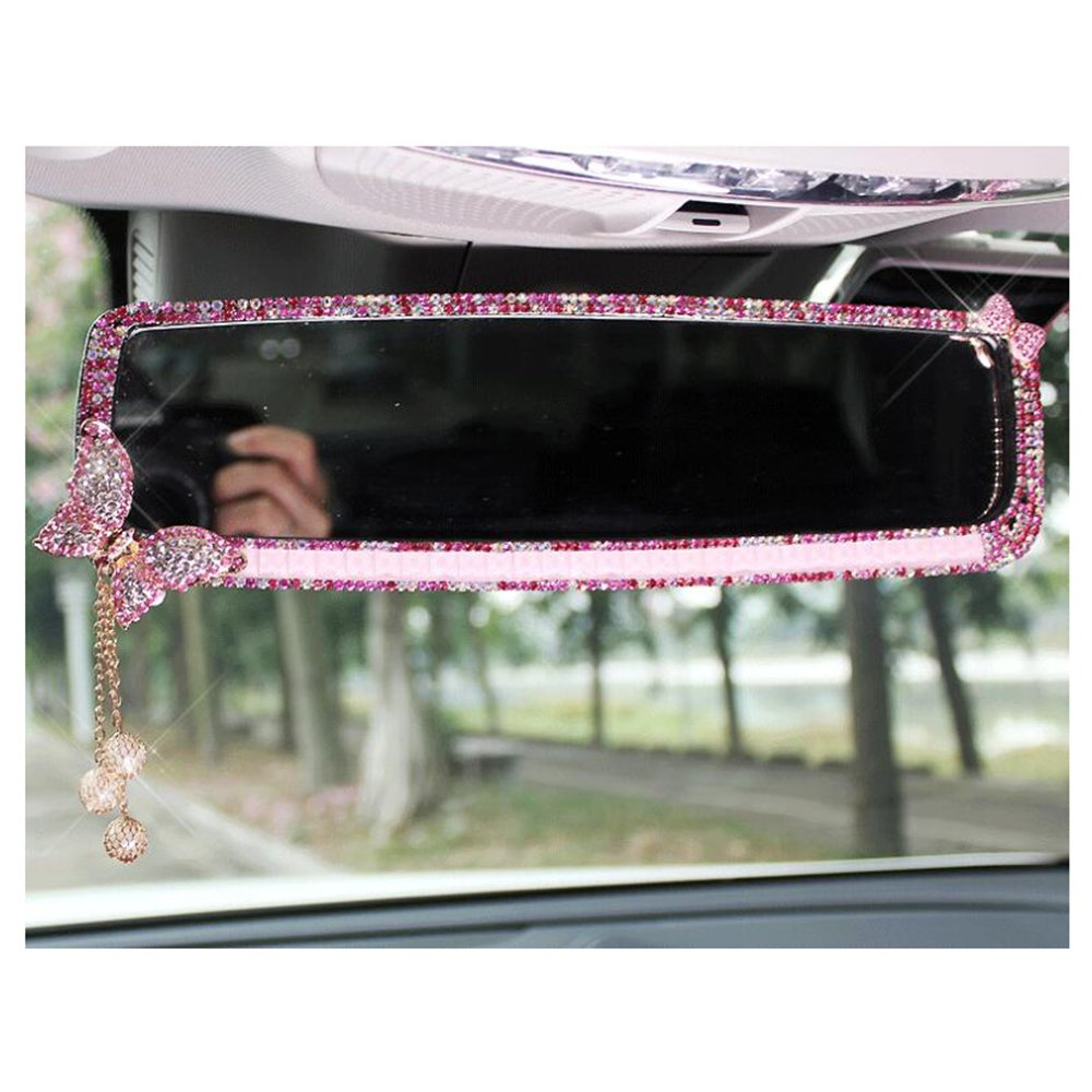 LuckySHD Car Rear View Mirror with Crystal Diamond Butterfly Pink