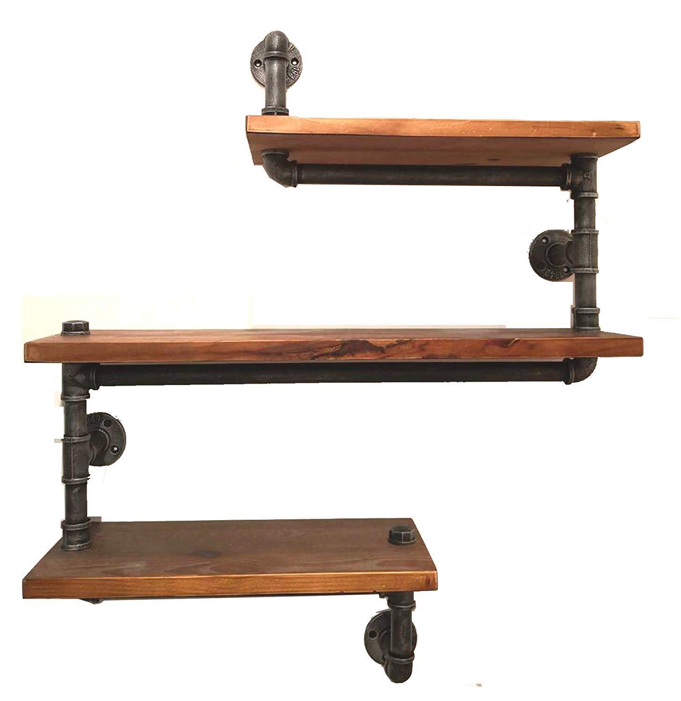Industrial Pipe Shelving Bookshelf Rustic Modern Wood Ladder Wall Shelf 3 Tiers Wrought IronPipe Design DIY ShelvingDia 32mmWeight30lb