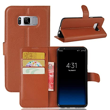 Excelsior Leather Wallet Flip Cover Case for Samsung Galaxy S8 Plus  Inner TPU    Brown Cases   Covers