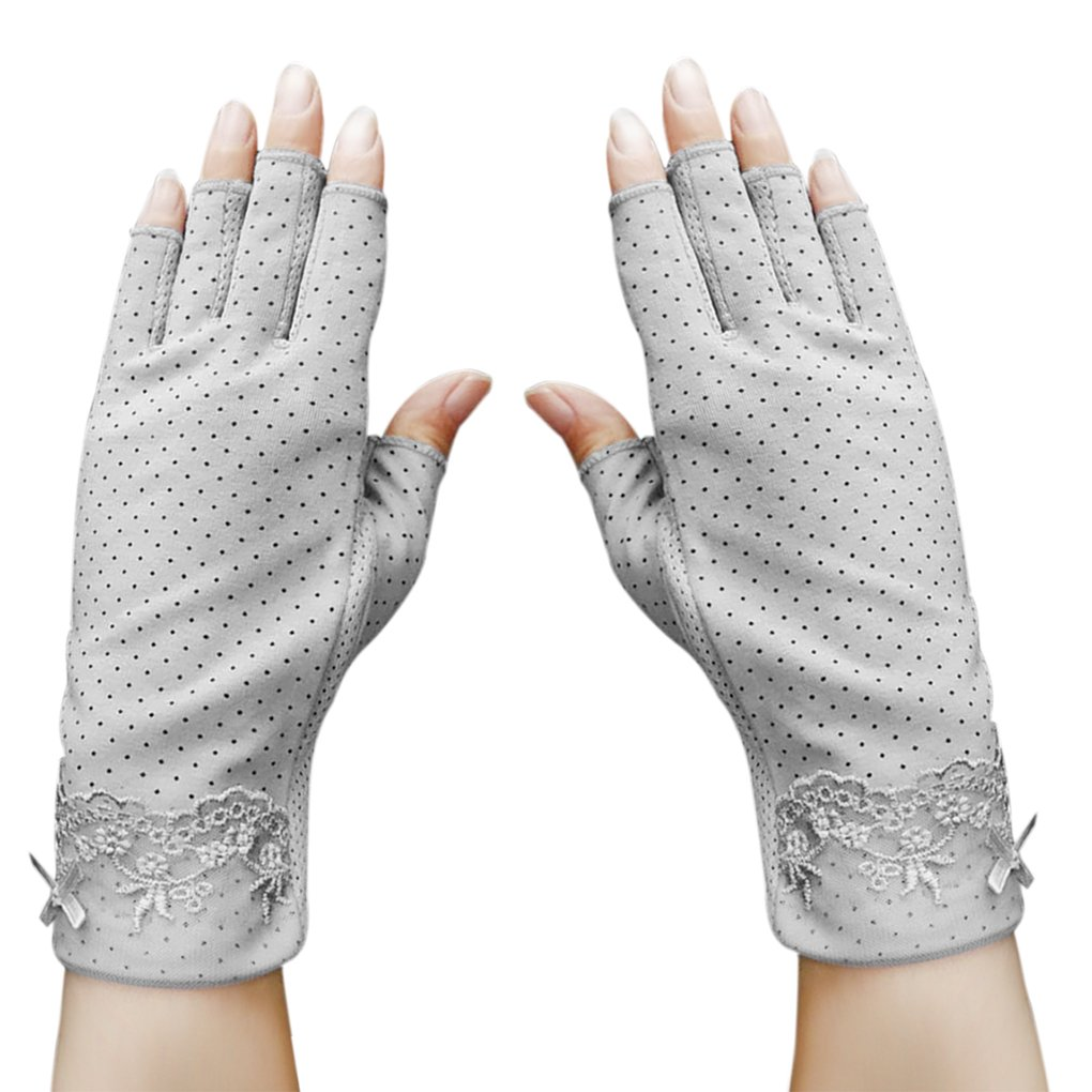 Fingerless Non Skid Summer Gloves for Women Driving Cycling Glove UV Protection