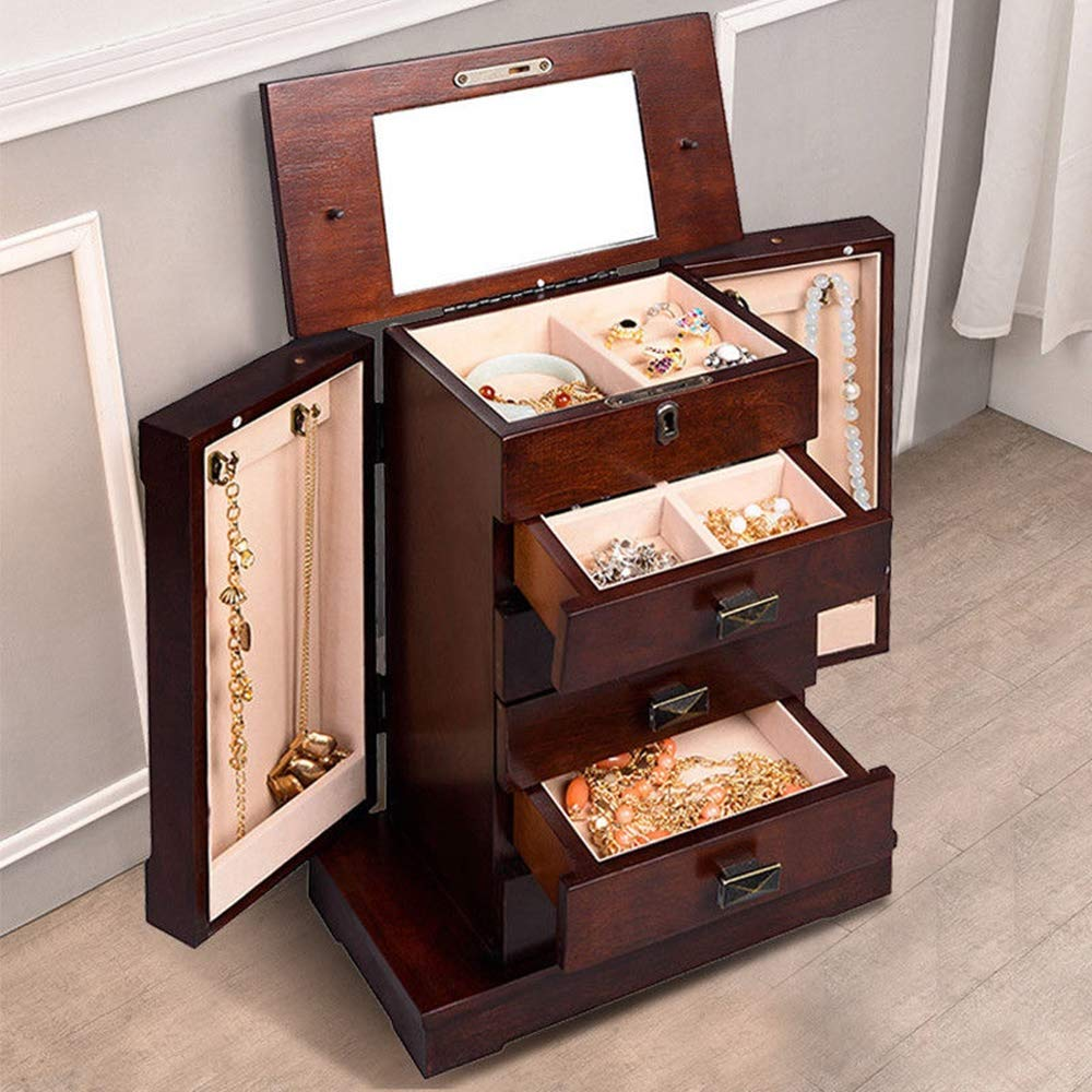 Adumly Armoire Jewelry Cabinet Box Storage Chest Stand Organizer Wood by Adumly (Image #8)
