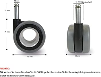 5x Stuhlrollen Teppichbodenrollen Ø 65mm Bürostuhlrollen Hochwertig TÜV/&GS