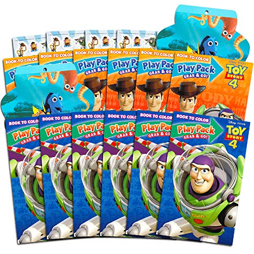 Disney Pixar Toy Story 4 Party Favors Pack ~ Bundle of 12 Toy Story Play Packs Filled with Stickers, Coloring Books, Crayons with Bonus Finding Dory Stickers (Toy Story Party Supplies) (Party Games Story Toy)