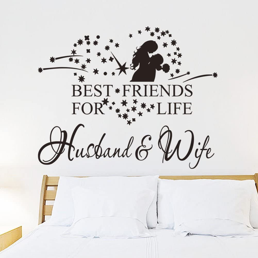 Wall Decor Sticker - Decorative Wall Stickers - Best Friends for Life Husband and Wife Quotes Wedding Decorations Wall Stickers Bedroom Love Lettering Words Vinyl Decals - Size 45cm x 36cm (Black)