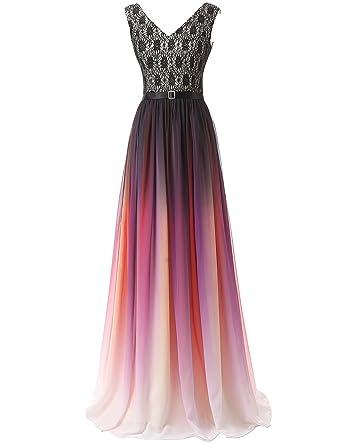 Clearbridal Damen Formale Chiffon Abendkleid Farbverlauf Bandage ...