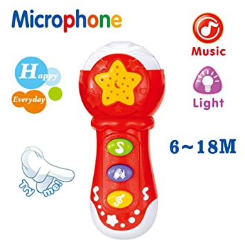Amazon Com Baby Musical Toy Microphone Educational Christmas Birthday Gift For Toddlers 6  2 Year Olds With Music Songs Animal Singing