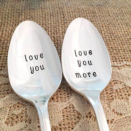 Hand stamped love you, love you more spoons, vintage floral set