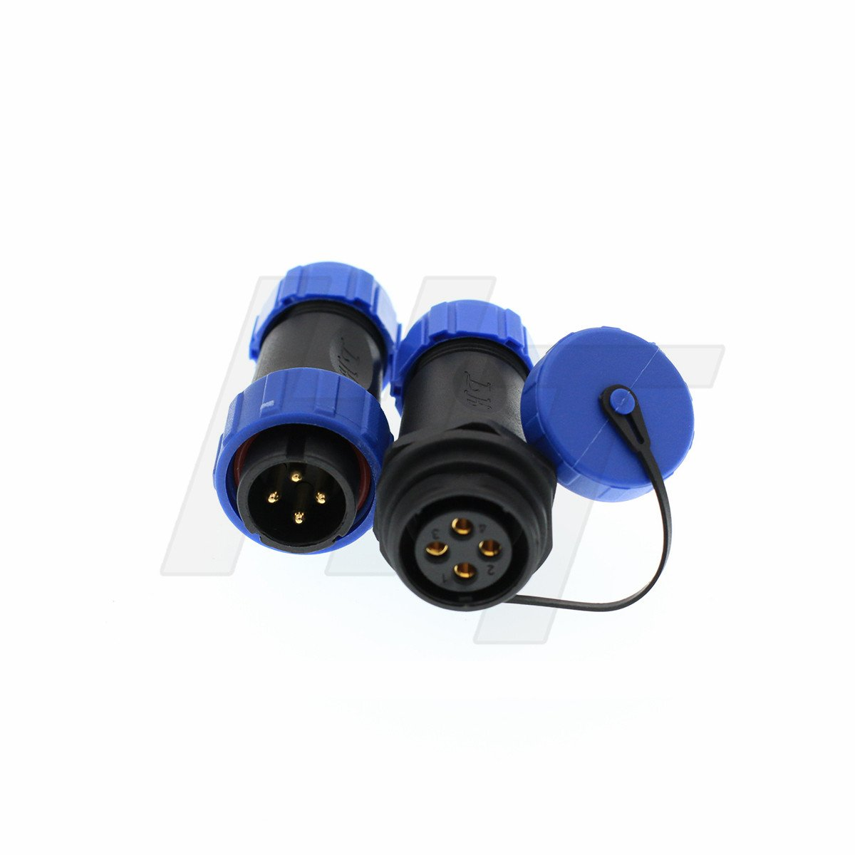HangTon HE13 4 Pin Connector Waterproof Wire Cable Plug Male Female Industrial Electrical Circular Power 5Amp (5set) by HangTon Connect