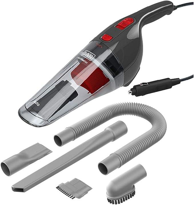Black+Decker NV1210AV - Aspirador de Mano Coche, Adaptador para Mechero, Depósito 370 ml, Cable 5 metros, 12.5 V, Color Gris y Rojo: Amazon.es: Hogar