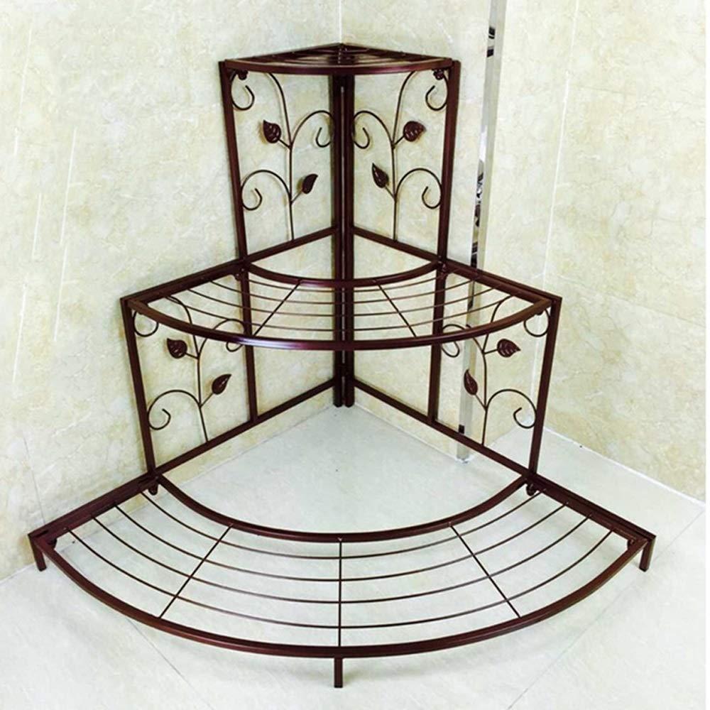 BR Soggiorno a Tre Piani in Ferro battuto Multi-Strato portafiori ad Angolo scaletta mensola Vaso di Fiori (colore   Bronzo, Dimensioni   L.)