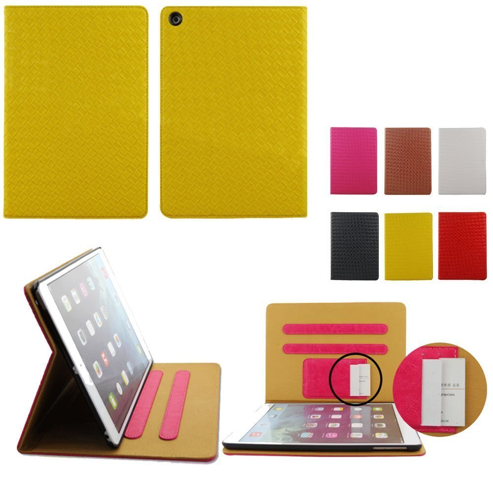 Guoqueen Woven Pattern Luxury Leather Case For Apple ipad Air/5 (2013) - Built-in Stand / Smart Cover Auto Wake & Sleep / Money Sleeve & Credit Cards Slots ,Yellow