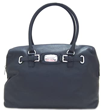 fb2be05faffe Amazon.com: Michael Kors Hamilton Weekender Leather Handbag, Navy Blue:  Clothing