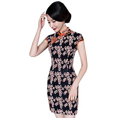 ACVIP Damen Retro Stil Blumen Muster Schlitz Polyester Chinesische  Abendkleid (EU 34/ Chinese S