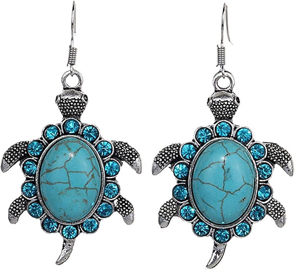 Retro Colgante con forma de tortuga de diamantes de imitación tibetanos con gancho para la oreja, joyería Amesii