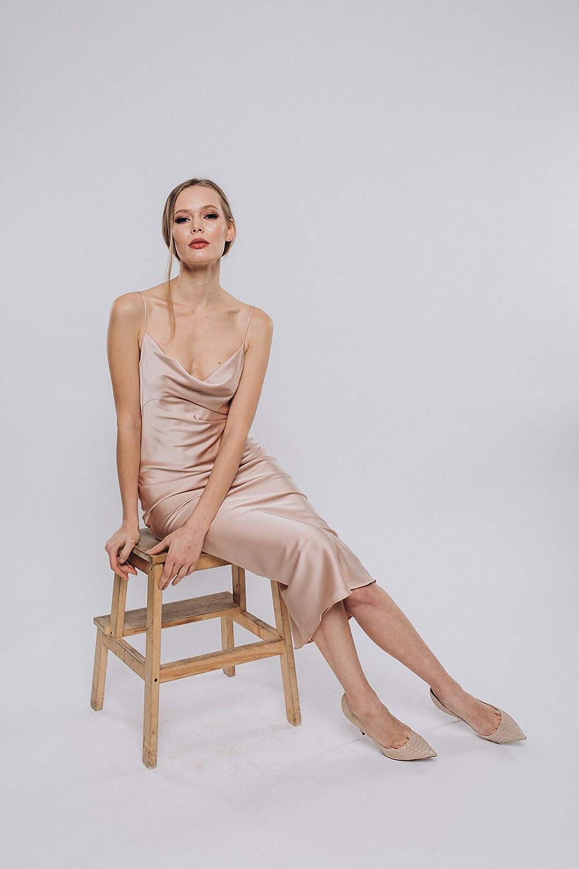 Amazon Com Women Champagne Satin Silk Slip Bias Dress Cowl Neck Top Camisole Dress Bias Dress Silk Dress Bridesmaid Dress Wedding Engagement Handmade,Can You Add A Train To A Wedding Dress