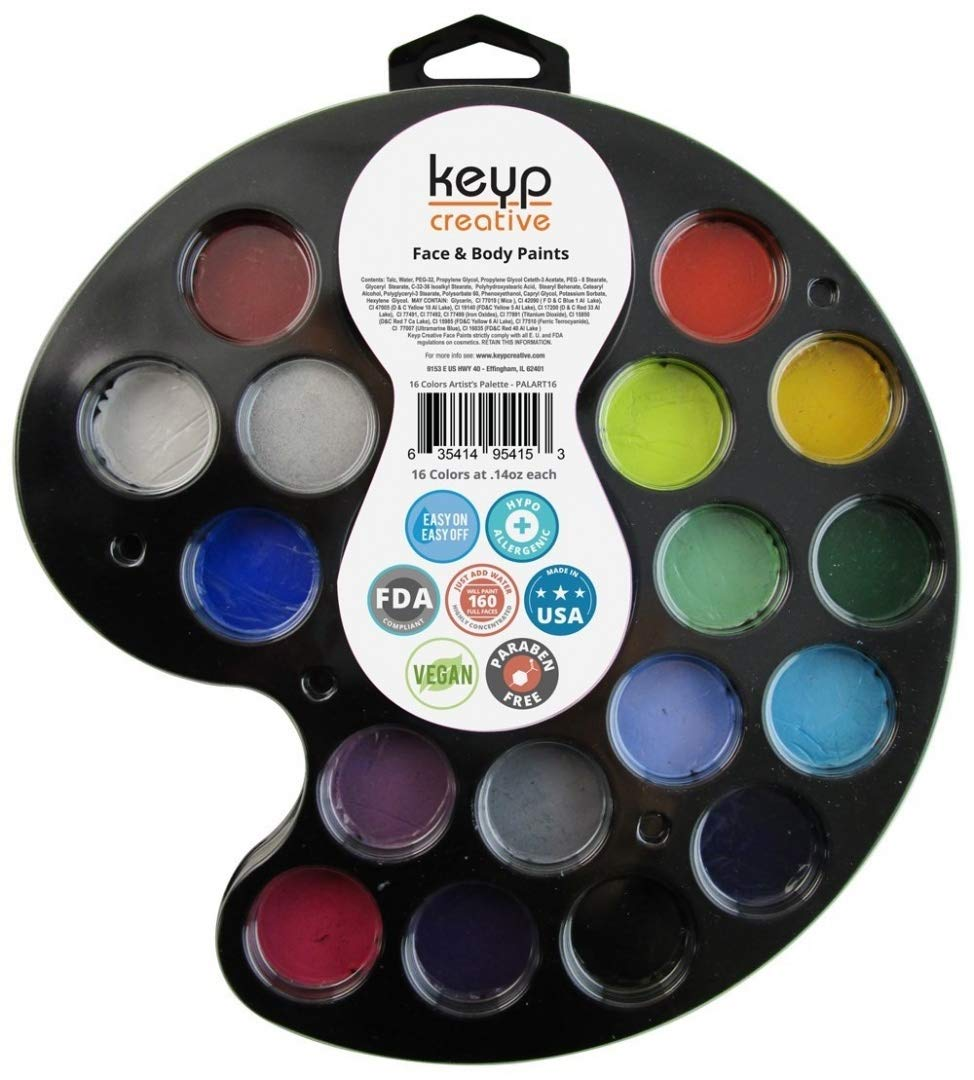 amazon com face body paint kit by keyp creative 17 color face