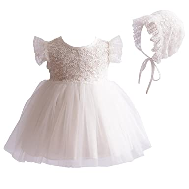 0c21dc5222e Baby Girls Lace Cap Sleeves Christening Baptism Gown Wedding Formal Tulle  Dress with Floral Lace Bonnet