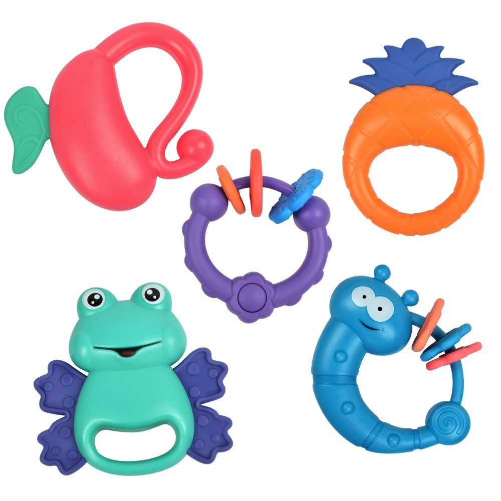 TUMAMA 5 Pack Rattle Teether Set Baby Toys, Baby Hand Development Rattle Toys for Newborn Infant with Giant Bottle Birthday Gift for 3 6 9 12 18 Month by TUMAMA (Image #1)