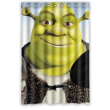 JIUDUIDDODO Coustom Lovely Shrek Cartoon Durable Waterproof Polyester Fabric Soft Bathroom Shower Curtain Size 48quot